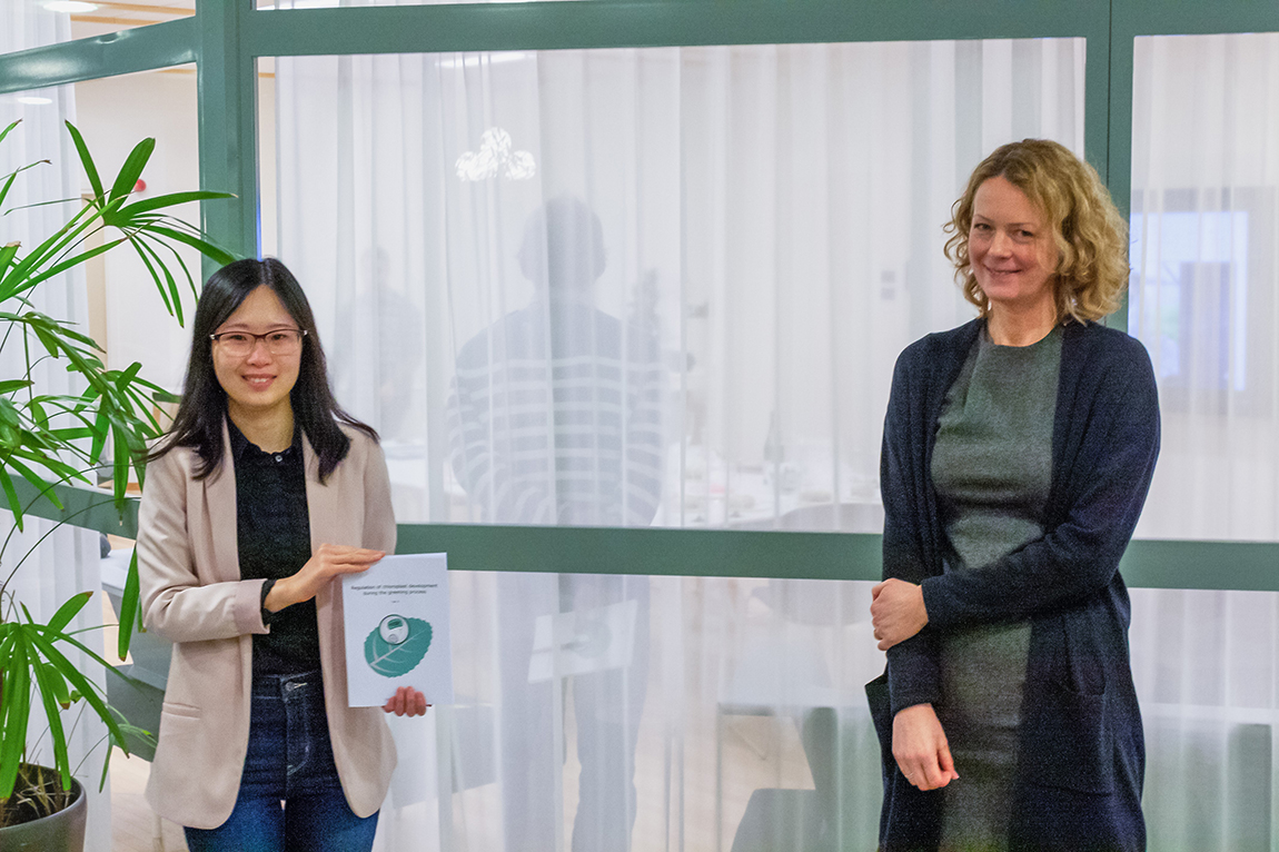 Yan Ji (left) and her supervisor Åsa Strand (right) after the defence